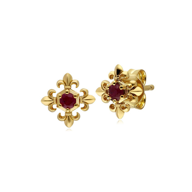ECFEW™ Ruby Fleur De Lis Stud Earrings