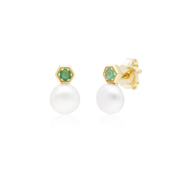 Modern Pearl & Emerald Stud Earrings in 9ct Yellow Gold