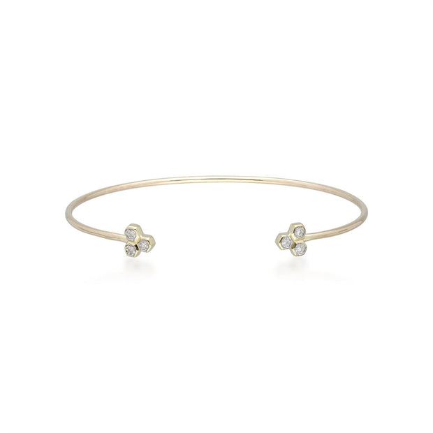 Diamond Trilogy Geometric Bangle in 9ct Yellow Gold