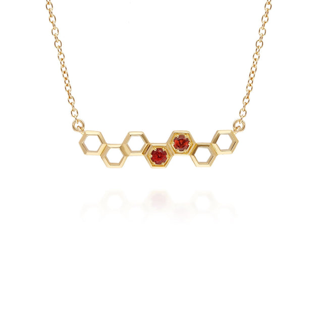 Honeycomb Inspired Garnet Link Necklace in 9ct Yellow Gold
