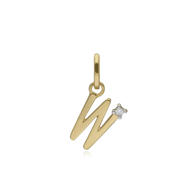Initial W Diamond Letter Necklace in 9ct Yellow Gold