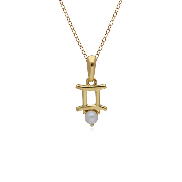 Pearl Gemini Zodiac Charm Necklace in 9ct Yellow Gold