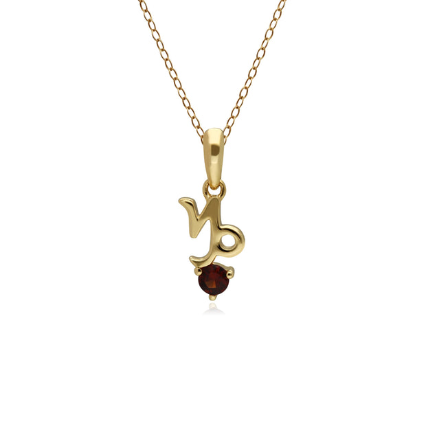 Garnet Capricorn Zodiac Charm Necklace in 9ct Yellow Gold