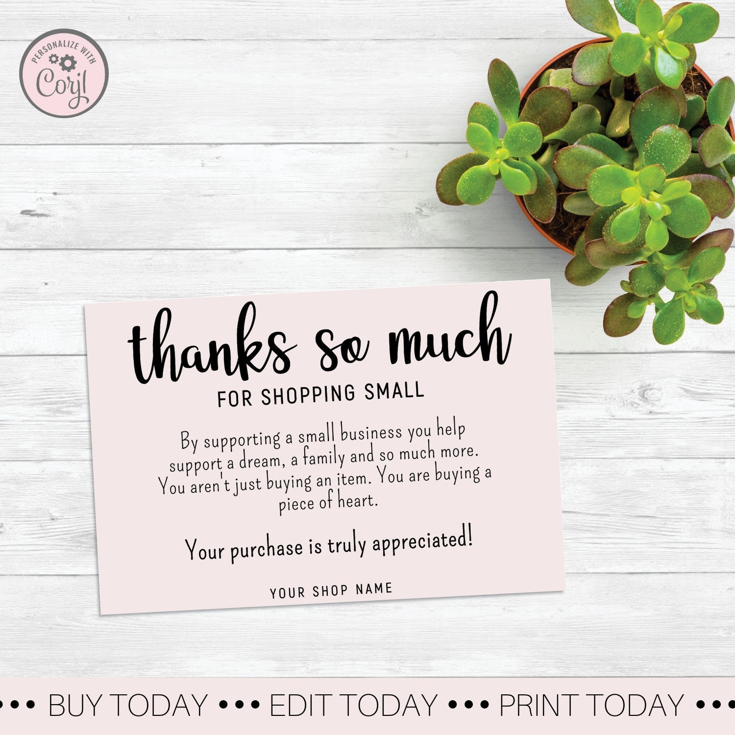 pink thank you for shopping small card simply thank you