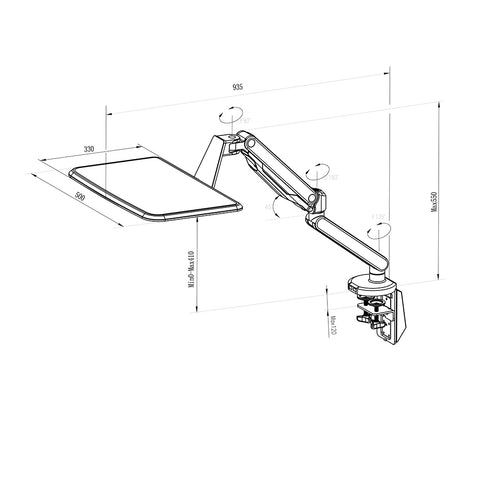 Claymore Laptop Arm Clamp Mount Dimensions
