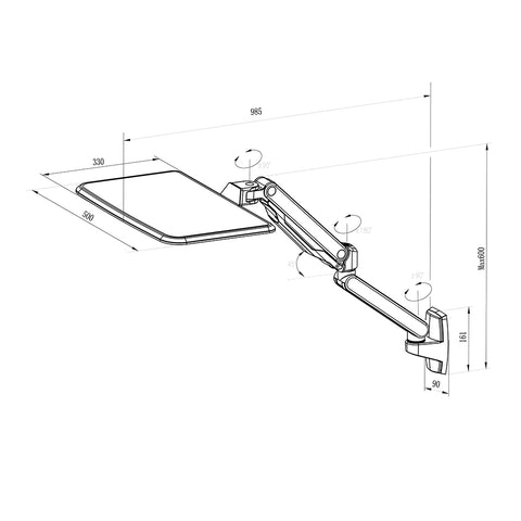 Claymore Laptop Arm Wall Mount Dimensions