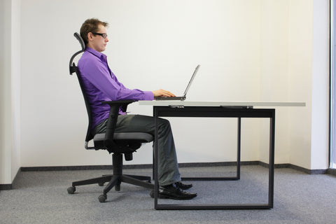 Steve demonstrates correct ergonomic seating posture