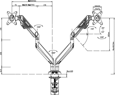 Sabre Double Monitor Arm Dimensions