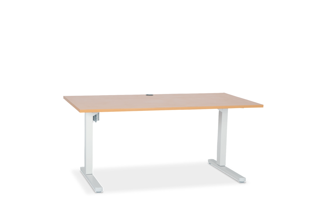 Squareline Height Adjustable Sit Stand Desk Beech Top White Frame