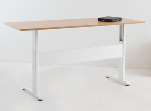 Classic Electric Sit Stand Desk White Frame Beech Top