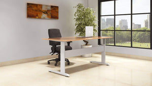 Sit Stand Desk Beech Top White Frame in Office