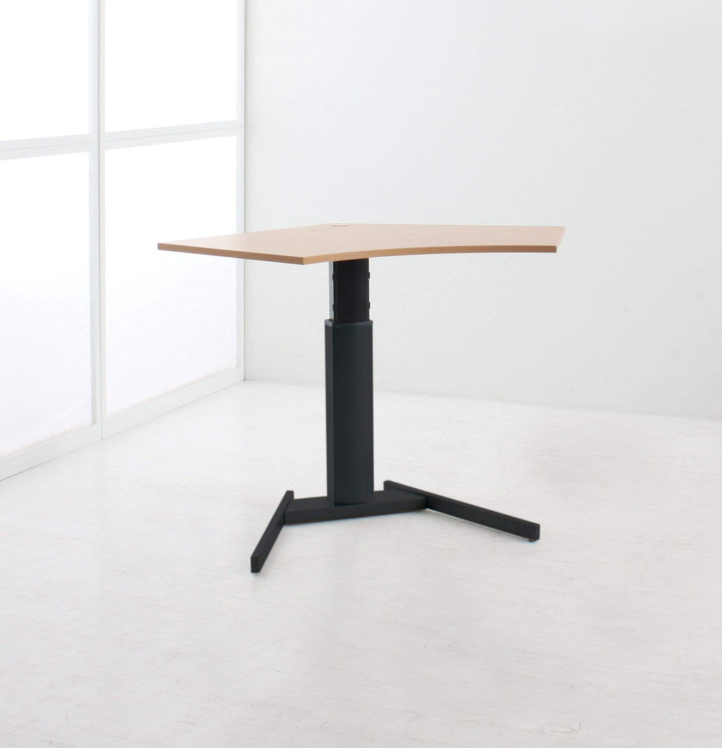Height Adjustable Single Column with Black Basic Base and 120 Corner Top