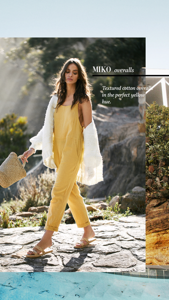 The Miko Overalls in the perfect yellow hue