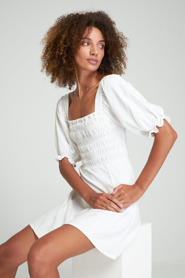 ELIZA MINI DRESS - WHITE