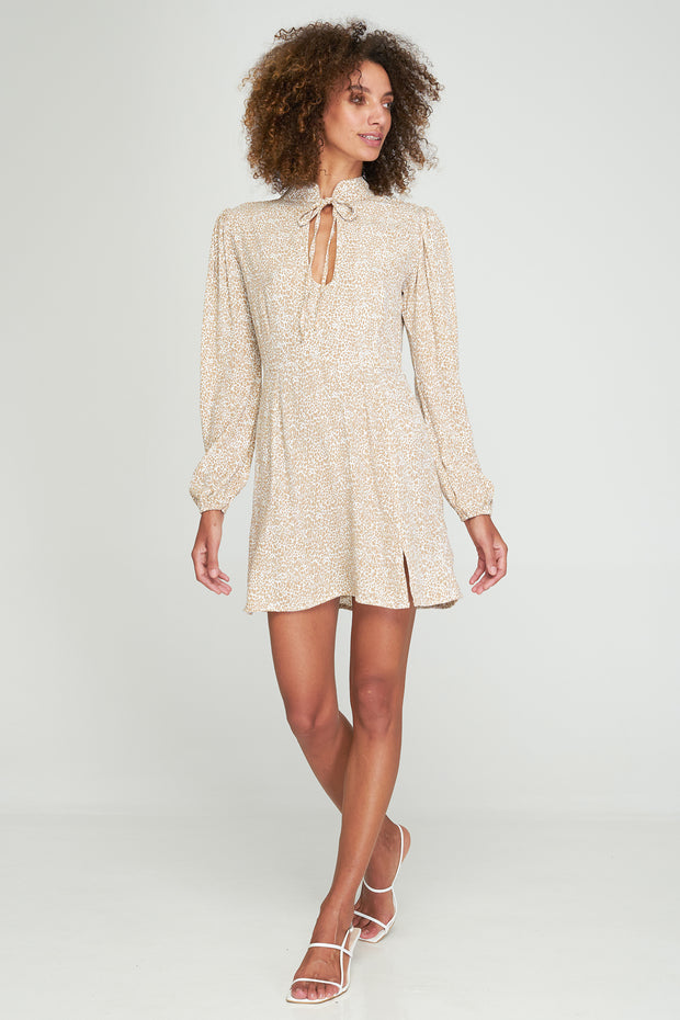 THEA MINI DRESS - KATE LEOPARD - CAMEL