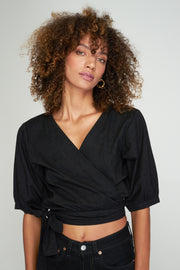 AURORA WRAP TOP - BLACK