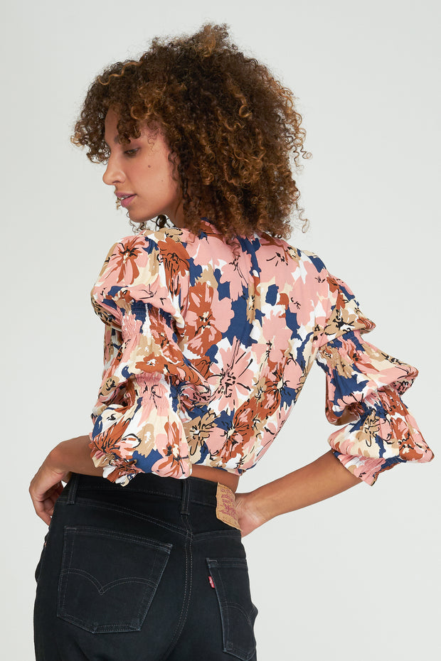 Emery Knot Blouse - Bebe Floral - Woodstock