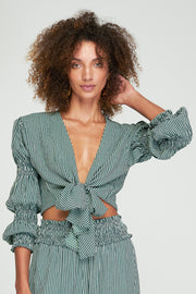 Emery Knot Blouse - Basil Stripe