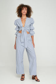 PRE-ORDER Emery Knot Blouse - Coastal Blue Stripe
