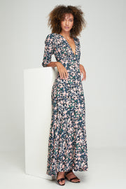 ARIA MAXI DRESS - MONET FLORAL - NOIR