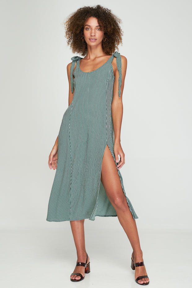 Piper Split Dress - Basil Stripe