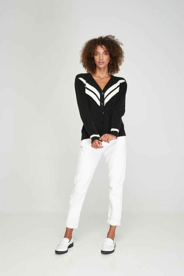 DEBBIE CARDIGAN - Black-Off White MIX