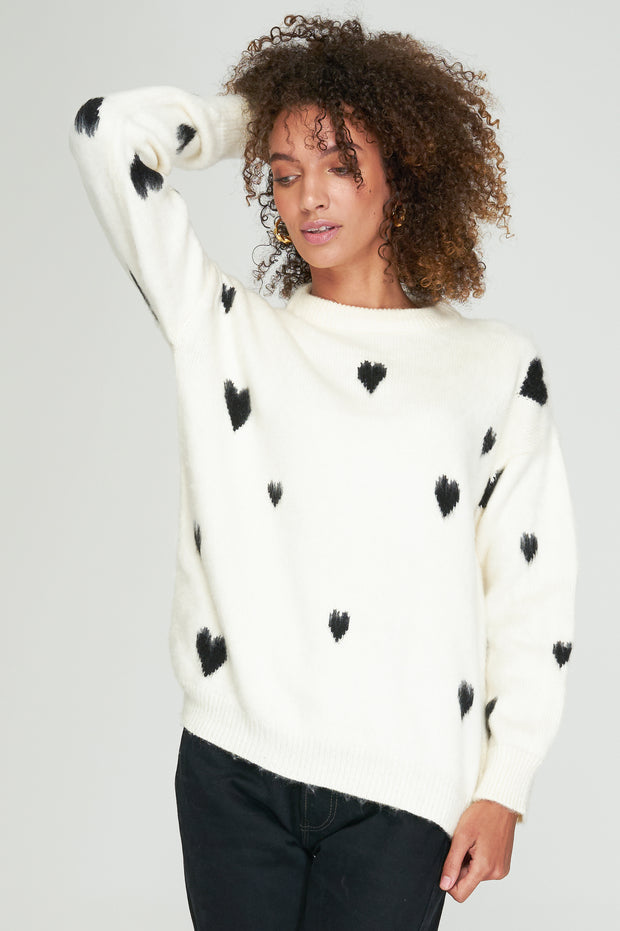 THEA SWEATER - OFF WHITE-BLACK HEART