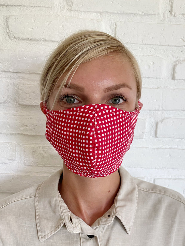 Red Check Linen Mask Casing