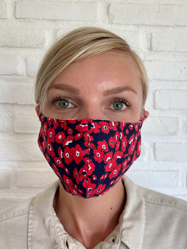 Pre Order - Poppy Red Pansy Viscose Mask Casing
