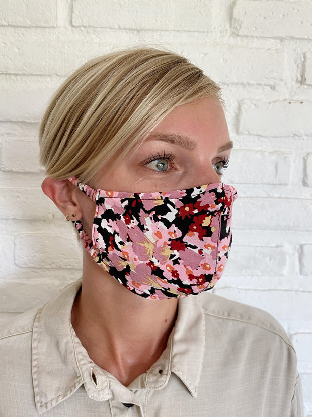 Black Monet Floral Viscose Mask Casing