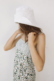 Large Brim Bucket Hat - White