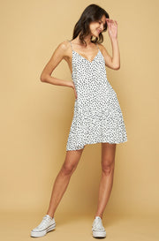SUTTON MINI DRESS - POLKA STROKE - INK