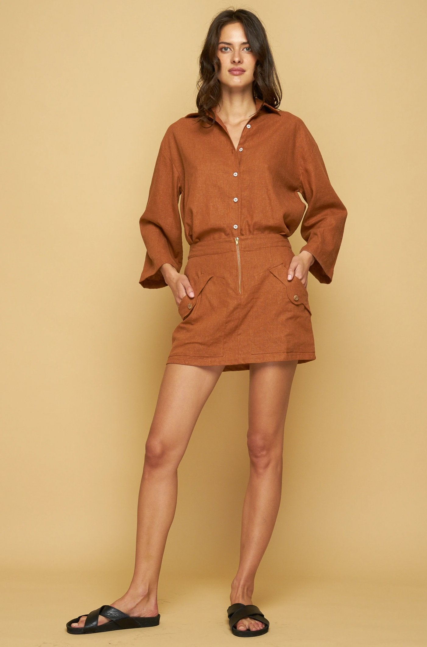 LINDA MINI SKIRT - TOFFEE