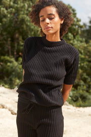 PAMELA KNIT TEE - BLACK