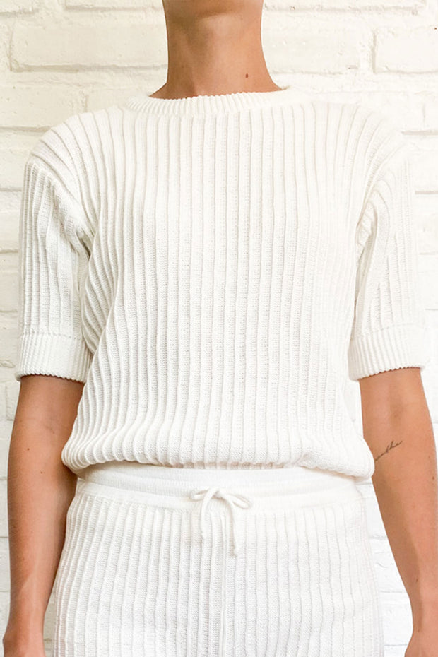 PAMELA KNIT TEE - WHITE