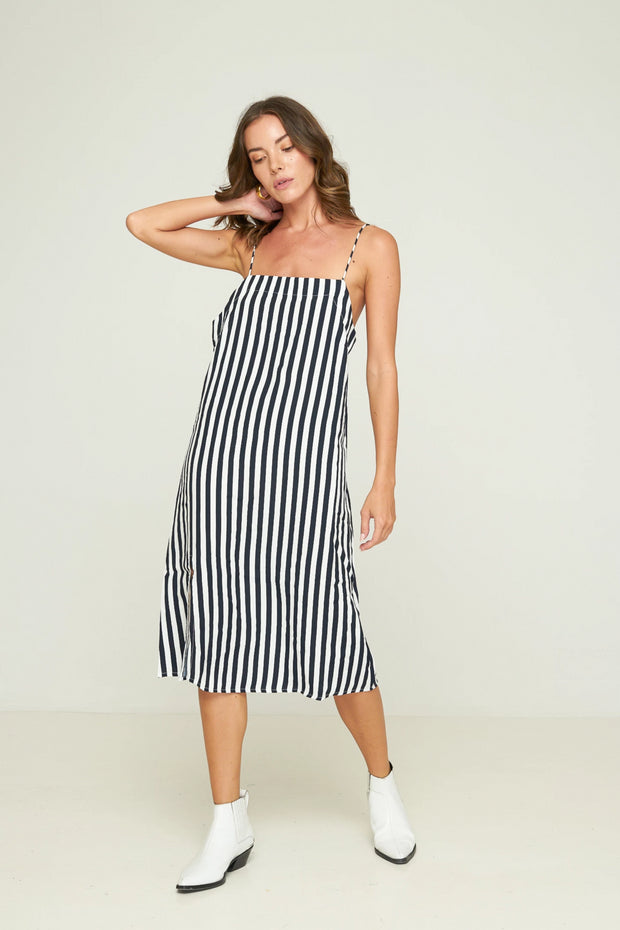 PRE - ORDER Grady Midi Dress - Hampton Stripe - Indigo