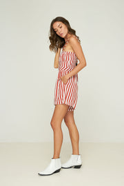 Sofie Playsuit - Hampton Stripe - Rust - SAMPLE