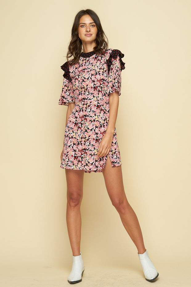 TURNER MINI DRESS - MONET FLORAL DARK - POLKA STROKE RED