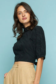 SWANTON TIE TOP - BLACK