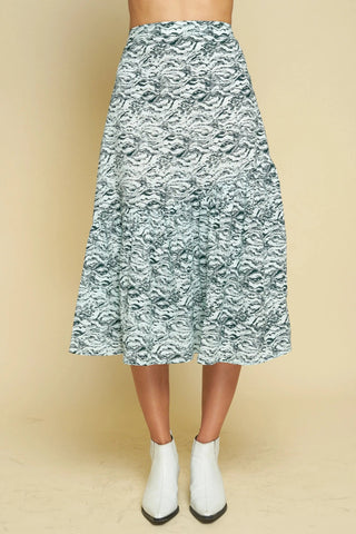 Newport Pleat Skirt - Navy Peony