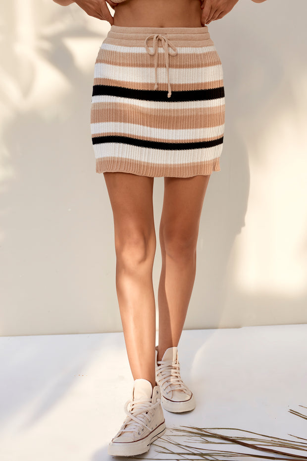 Amia Mini Skirt - Boxy Stripe Black