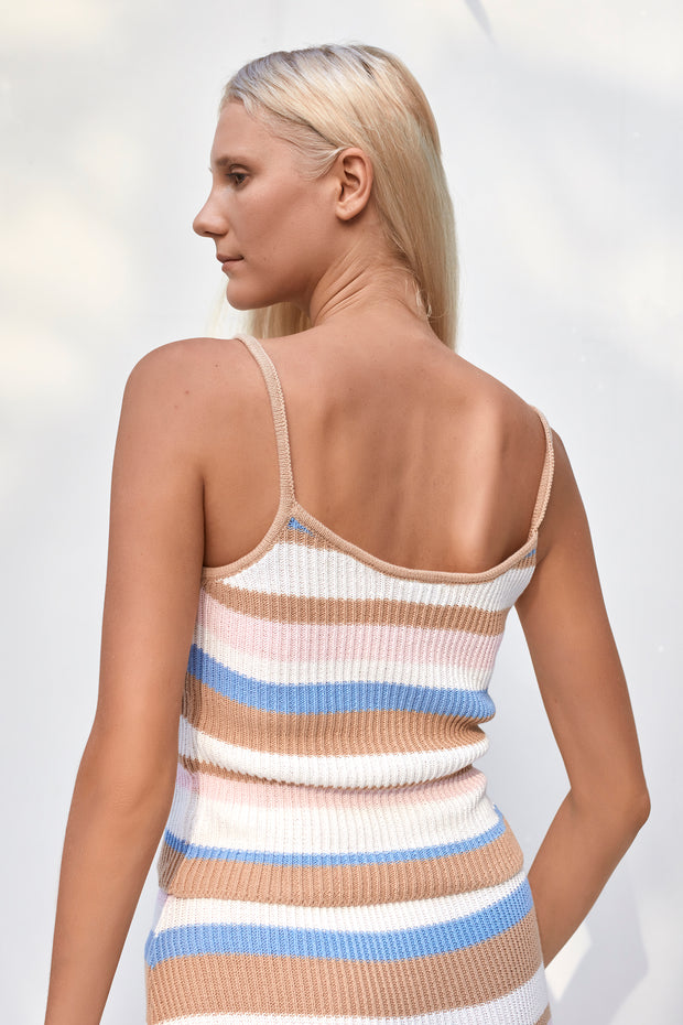 Riya Top - Boxy Stripe Sky Blue