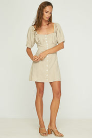 MARISOL MINI DRESS - NATURAL LINEN RAYON