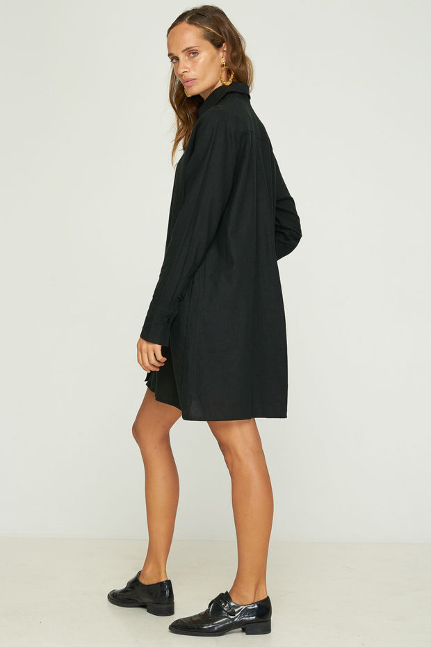 Nia Shirt Dress - Black