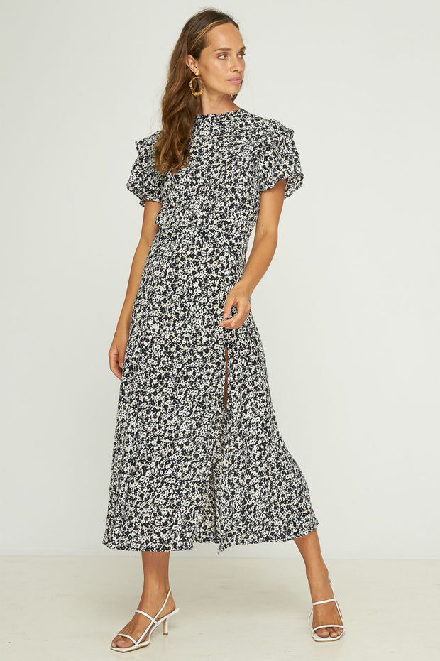 NYLA MAXI DRESS - MUSEE FLORAL - BLACK