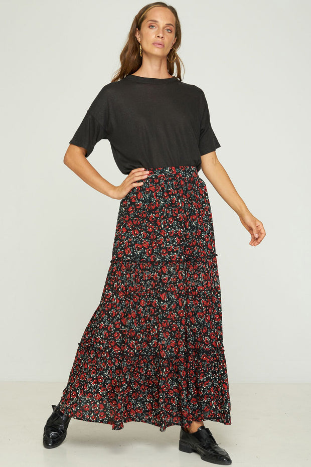 LILA TIERED SKIRT - FARRAH ROSE - BLACK