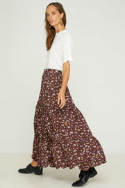 LILA TIERED SKIRT - Stevie Floral Brandy
