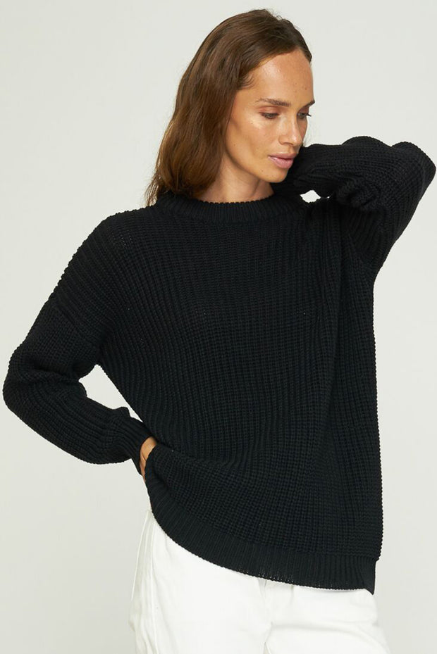 BEVERLY BOYFRIEND SWEATER - BLACK