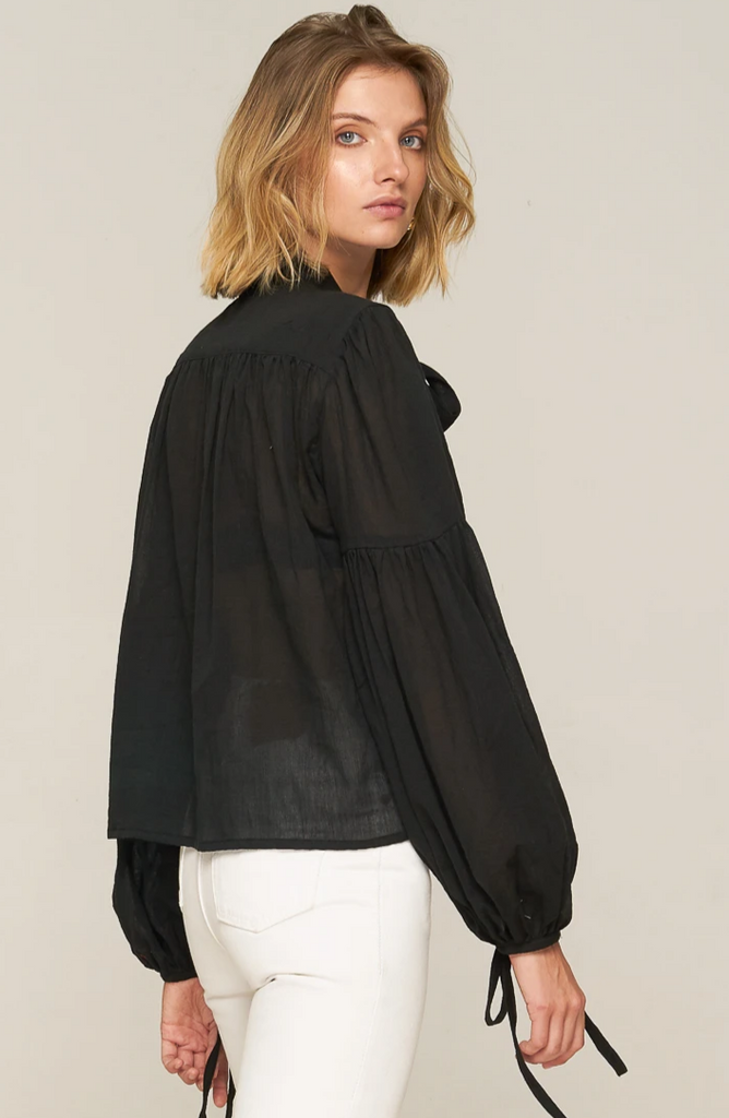 Bessie High Neck Blouse - Black