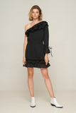 Ana One Shoulder Mini Dress - Black